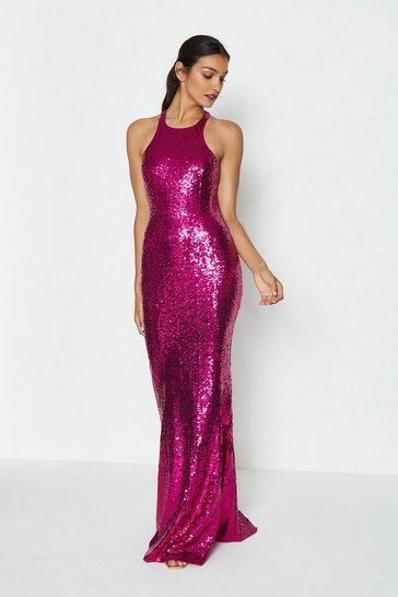 Magenta Bow Back Sequin Maxi Dress