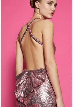 Pink Bow Back Sequin Maxi Dress