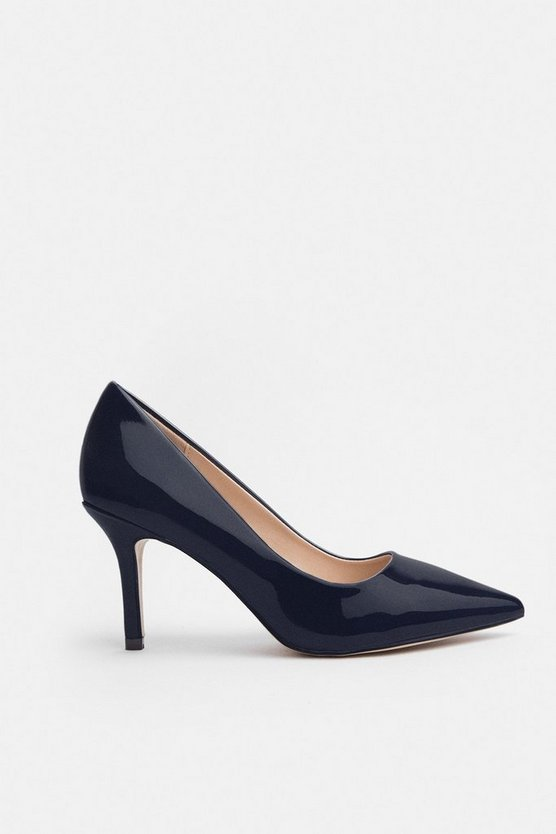 Navy Patent Pointed Toe Court Shoe