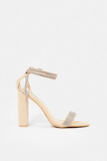 Blush Diamante Block Heel Sandal