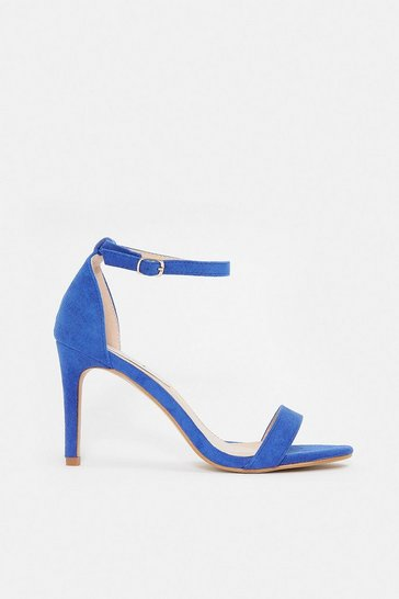 Blue Strappy Mid Heel Sandal