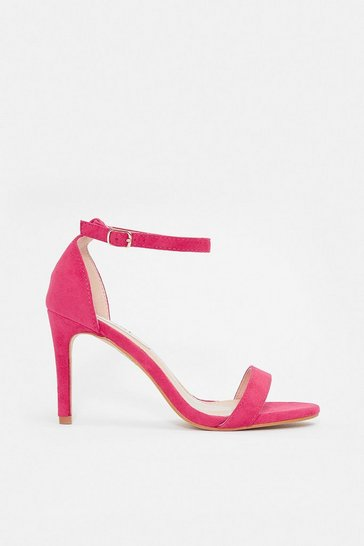 Pink Strappy Mid Heel Sandal
