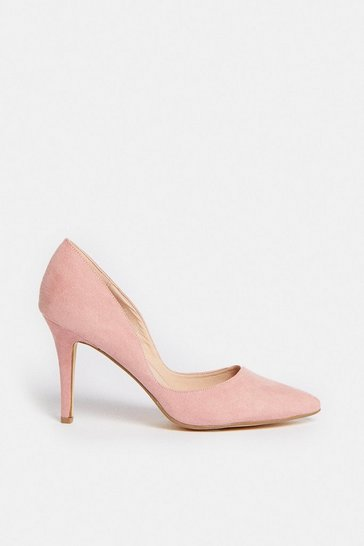 Blush Two Part Suedette Court Shoes