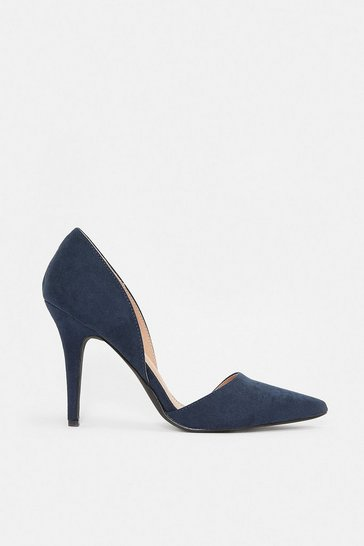 Navy Two Part Suedette Court Shoes