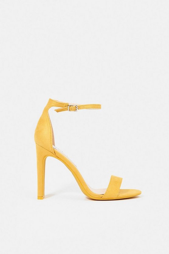 Yellow Ankle Strap High Heeled Sandal
