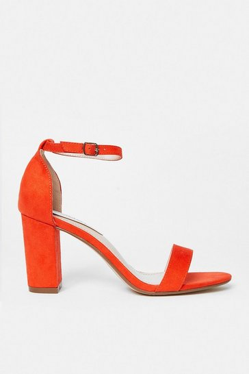 Orange Ankle Strap Block Heel Sandal