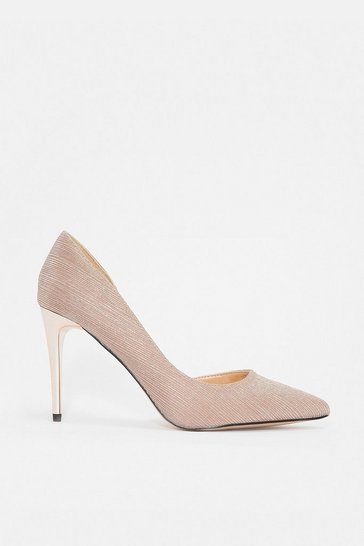 Pink Glitter Stripe Court Shoe