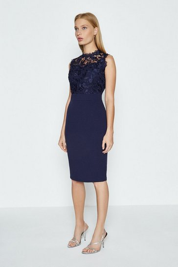 Navy Lace Bodice Shift Dress