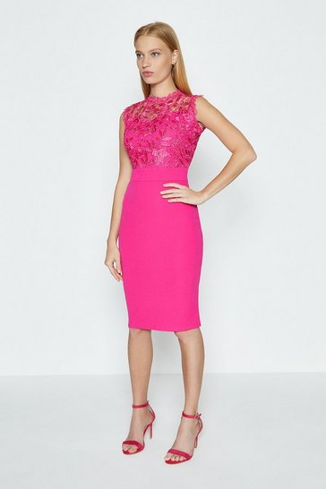Pink Lace Bodice Shift Dress