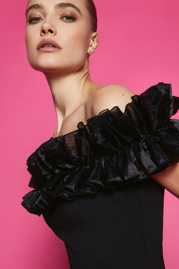 Black Organza Ruffle Scuba Bardot Dress
