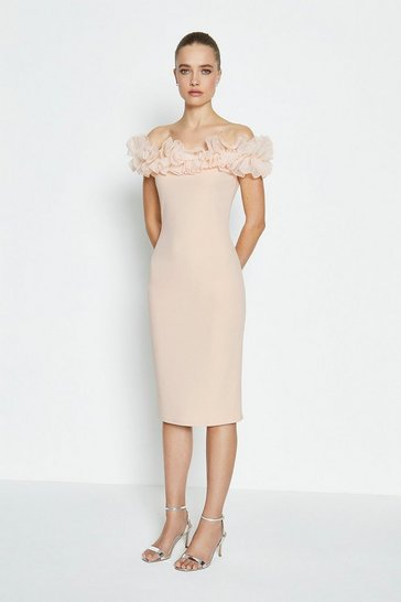 Blush Organza Ruffle Scuba Bardot Dress