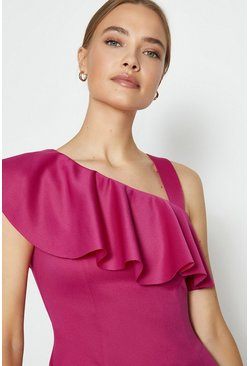 Pink One Shoulder Ruffle Scuba Midi Dress