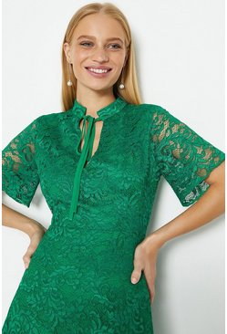 Green Lace Flare Sleeve Dress