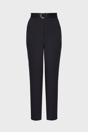 Black D-Ring Belt Slim Leg Trouser