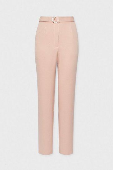 Blush D-Ring Belt Slim Leg Trouser