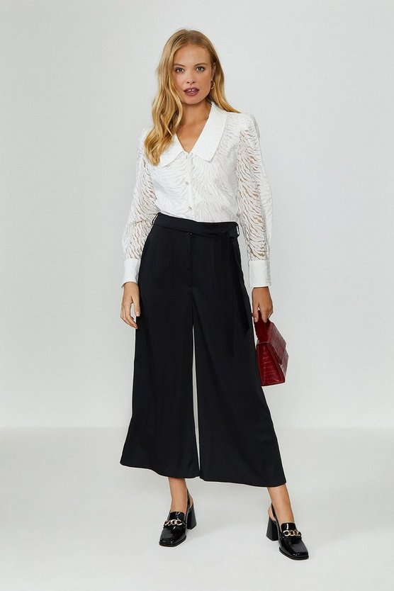 Black Tie Belt Wide Leg Trousers
