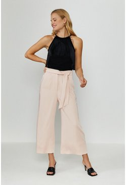 Blush Tie Belt Wide Leg Trousers