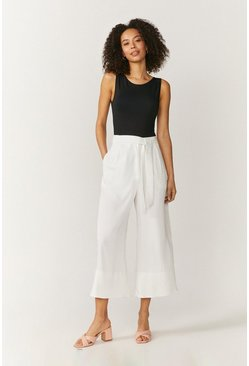 Ivory Tie Belt Wide Leg Trousers