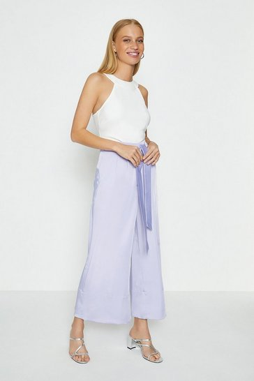 Lilac Tie Belt Wide Leg Trousers