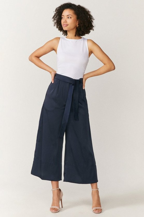 Navy Tie Belt Wide Leg Trousers