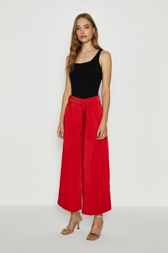 Red Tie Belt Wide Leg Trousers