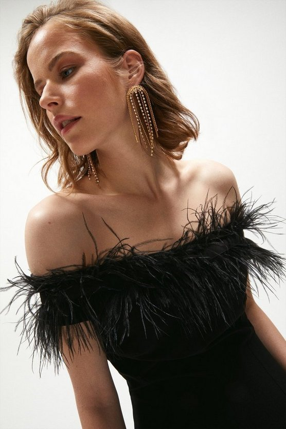 Black Feather Bardot Dress