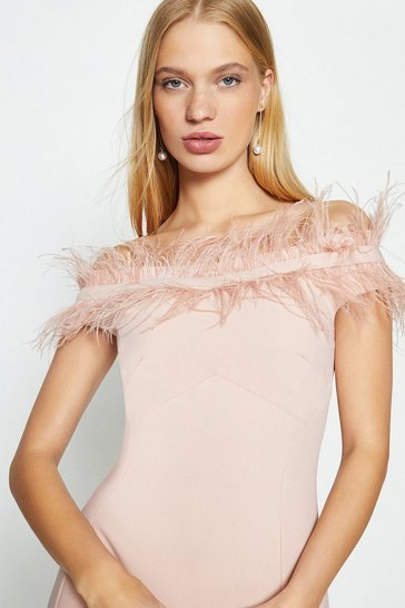 Blush Feather Bardot Dress