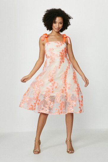 Coral Embroidered Dirndl Hem Dress