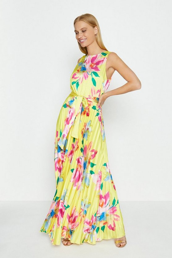 Yellow Pleated Skirt Maxi Dress