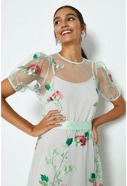 Mint Floral Embroidered Midi Dress