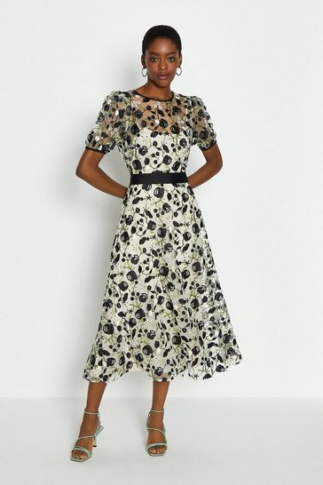 Mono Floral Embroidered Midi Dress