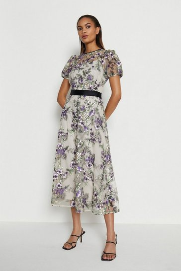Purple Floral Embroidered Midi Dress