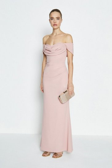 Blush Drape Bodice Bardot Maxi Dress