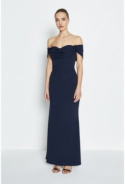 Navy Drape Bodice Bardot Maxi Dress