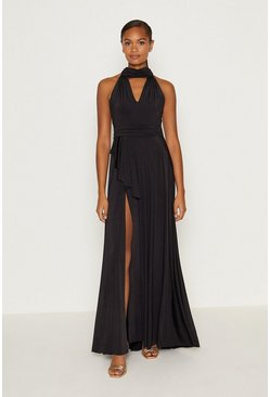 Black Jersey Halter Neck Maxi Dress