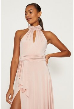 Blush Jersey Halter Neck Maxi Dress