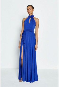 Indigo Jersey Halter Neck Maxi Dress