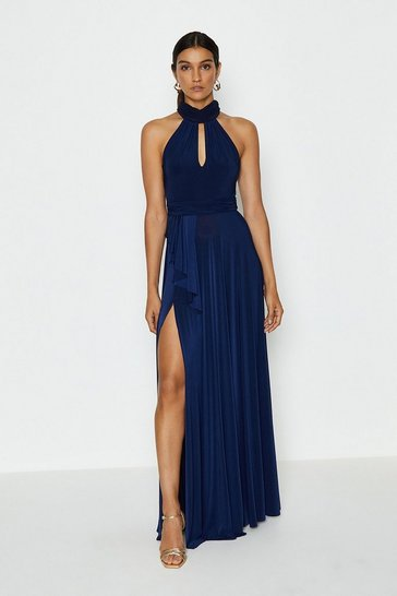 Navy Jersey Halter Neck Maxi Dress