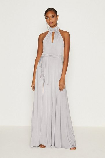 Silver Jersey Halter Neck Maxi Dress