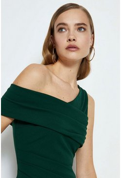 Emerald Asymmetric Neckline Maxi Dress