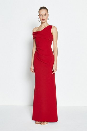 Red Asymmetric Neckline Maxi Dress
