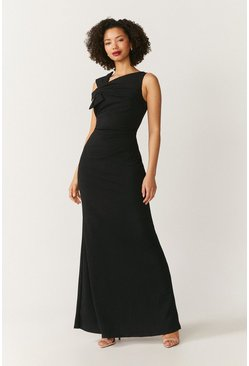 Black Shoulder Bow Maxi Dress