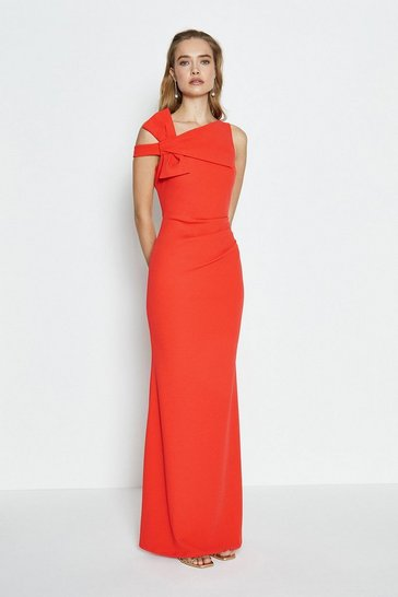 Coral Shoulder Bow Maxi Dress