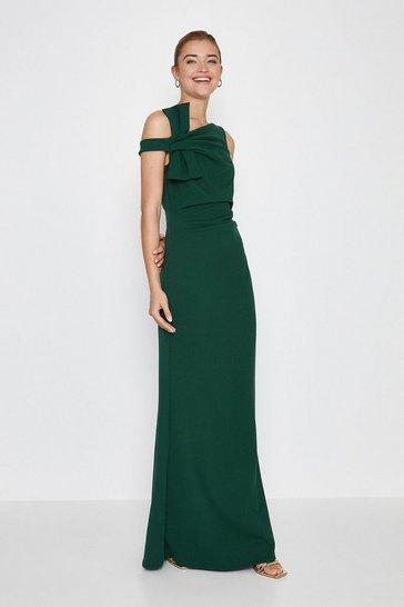 Forest Shoulder Bow Maxi Dress