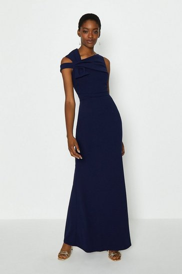 Navy Shoulder Bow Maxi Dress