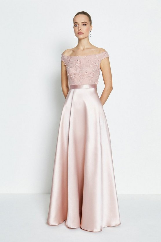 Blush 3D Embroidered Bodice Full Maxi Dress