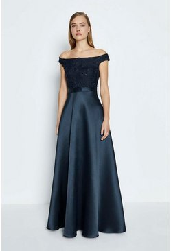 Navy 3D Embroidered Bodice Full Maxi Dress