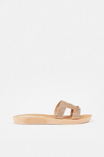 Rose gold Diamante Flat H- Strap Sandal