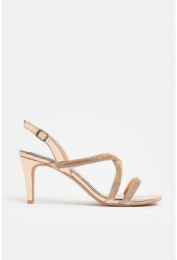 Rose gold Cross Strap Diamante Sandal