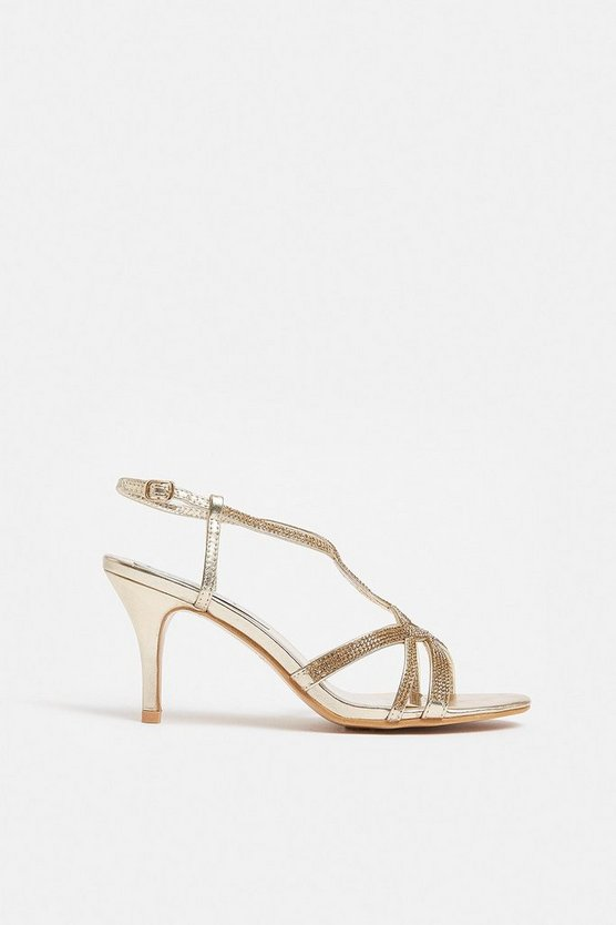 Rose gold Diamante Twist Strap Sandal